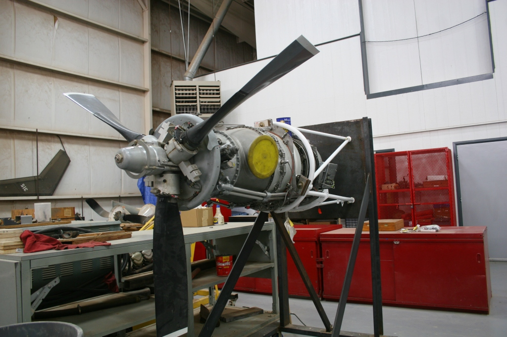 A propeller engine students are working on