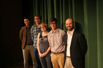 """From left to right, Contest Judge Michael Shewmaker, Fourth Place Winner John Green (""""A Man with No Name""""), Second Place Winner Satina Whalen (""""Sawdust""""), First Place Winner John Bosworth (""""The Bible"""") and MC English Instructor and contest coordinator Brendan Egan"""